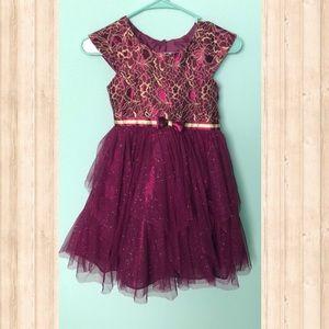 Jona Michelle Girls Formal Holiday Dress Wine Gold